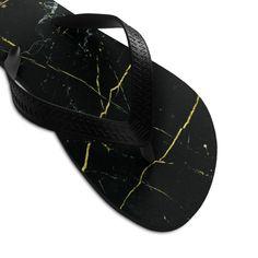 Black Marble Flip Flops, Marble Print Unisex Designer Flip-Flops Sandals- Made in USA