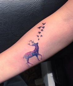Deer and bieds sleeve tattoo - 45 Inspiring Deer Tattoo Designs <3 <3
