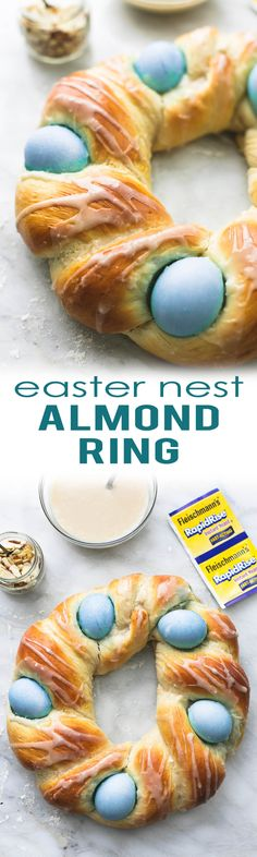 Easy Easter Nest Almond Ring with almond cream cheese glaze, ready in 1 hour for the perfect Easter brunch centerpiece. | lecremedelacrumb.com