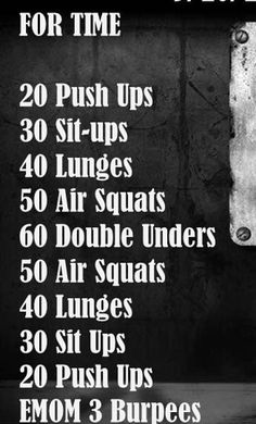 Push ups, sit ups, lunges, squats, double unders, EMOM burpees