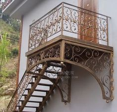 Wrought iron stair armrest railing guardrail balcony fence fashion rotating stair whole stair Iron Staircase Railing, Staircase Outdoor, Wrought Iron Stairs, Outside Stairs, Balustrades, Fence Doors, Bedroom Balcony, Exterior Stairs, French Architecture
