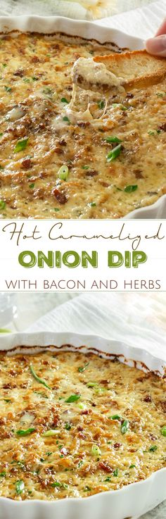 Caramelized Onion Dip | The ultimate party dip! This onion dip is made with gruyere, white cheddar, herbs, bacon, and rich caramelized onions for a melt in your mouth appetizer!