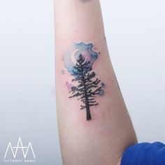 Tree and Watercolor Crescent Moon Tattoo by Tattooist Nanci