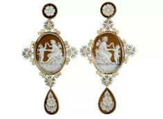Lydia Courteille. Cameo earrings with diamonds and enamel. Source: www.lydiacourteille.com