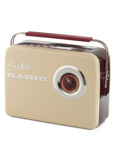 That Sounds Sweet Cookie Tin from ModCloth. It's a cookie tin that looks like a vintage radio! Want!
