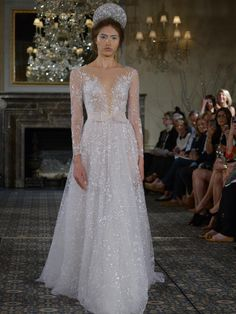 Mira Zwillinger wedding dress with illusion neckline, sleeves and lace from Spring 2016 Dream Wedding Dresses, Bridal Dresses, Wedding Gowns, Wedding Mandap, Wedding Receptions, Wedding Dress Necklines, Illusion Neckline Wedding Dress, Dress Vestidos, Sparkle Wedding