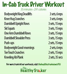 35 Minute In Cab Truck Driver Workout - Minimal Equipment Required Semi Trucks, Big Trucks, Truck Driver Wife, Truck Drivers, Truck Living, Dumbbell Shoulder Press, Peterbilt Trucks, Mind Body Soul, Business Inspiration