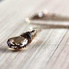 Wire Wrapped Necklace Swarovski Golden Shadow by GlitzGlitter, $44.00