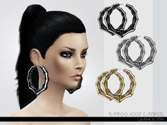 The Sims Resource: Bamboo Hoop Earrings by LeahLillith • Sims 4 Downloads