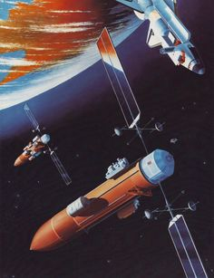"""humanoidhistory: """"Early 1980s Martin Marietta concept art shows a #space station built using external fuel tanks from a space shuttle. """""""