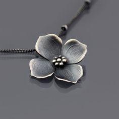 Sterling Silver Dogwood Blossom Necklace by lisahopkins | Lisa Hopkins Design