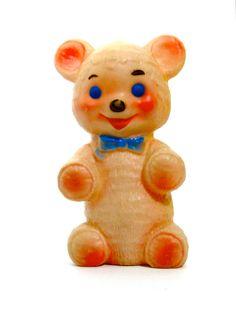 En caoutchouc Vintage Toy ours qui grince / par SueEllensFlair