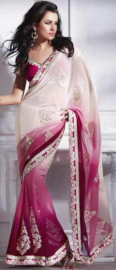 Cream and Shaded #Pink Faux Chiffon #Saree with blouse @ $92.92