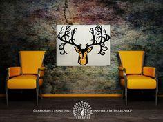"ABUNDANCE deer head Swarovski-encrusted mustard yellow ochre faux taxidermy deer antler abstract painting 24''x32"" by Lydia Gee on Wanelo"