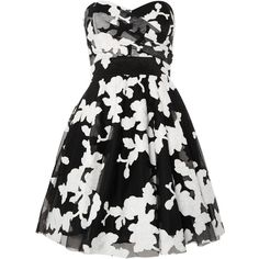 tfnc Sweetheart Neck Printed Fit and Flare Dress ($74) ❤ liked on Polyvore featuring dresses, women, black dress, sweet heart dress, tfnc, sweetheart neckline strapless dress and tfnc dresses