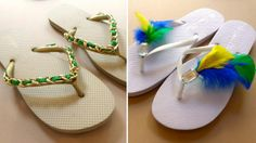 gold chain flip flops and feather decorated flip flops