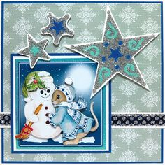 Christmas card, made with Sandy Art, Donna's 3D Decoupage and Ribbon Stickers.