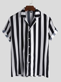 INCERUN Mens Striped V Neck Button Down Short Sleeve Shirt is designer and cheap on Newchic. Casual Shirts, Casual Outfits, Men Casual, Loose Shirts, Mens Printed Shirts, Henley Shirts, Mode Style, Striped Shorts, Trendy Fashion