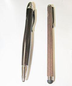 WOODSTYLUS Stylus-Stift für Touchscreens, Walnuss/Metall und WOODPEN Stylus-Stift für Touchscreens + Kugelschreiber, Walnuss/Metall