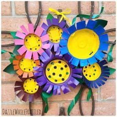 Make Your Own Flower Front Door Decor Using Plastic Nursery Pots | DazzleWhileFrazzled.com