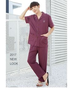 b93090549aa Anzhiban 2017 Summer Couple Sleepwear Suit Cotton Short Sleeve Lovers  Pajamas Sets Round Neck Women Men