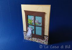 Cat at the window card cat avery elle Furry Friends clear stamp squirrel lawn fawn critters in the burbs window memorybox die cut bazzill cardstock fabric