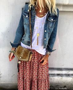 Boho-Stil Lässiger Chic Denim Design - Dieses Outfit hat alles ღ Stylish . Look Boho Chic, Style Désinvolte Chic, Cute Casual Outfits, Outfits With Hats, Casual Chic Style, Mode Outfits, Stylish Outfits, My Style, Dress Casual