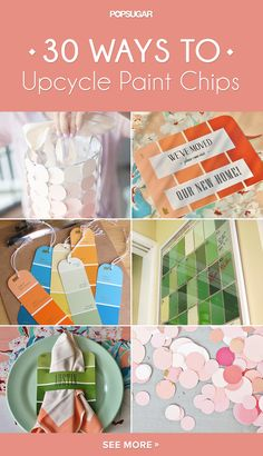 33 awesome ways to upcycle paint chips paint chip crafts Paint Chip Cards, Paint Sample Cards, Paint Samples, Paint Chip Calendar, Fun Crafts, Diy And Crafts, Paper Crafts, Decor Crafts, Chip Art