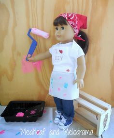 DIY no sew doll apron and paint