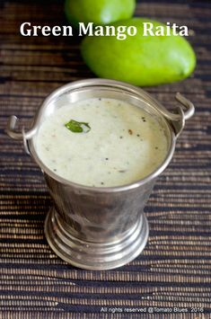Raw mango raita is a delicious yogurt sauce made with green mango, coconut and yogurt. Pairs well with rice and sambar. Learn how to make this raita here. Raitha Recipes, Raw Food Recipes, Brunch Recipes, Indian Food Recipes, Vegetarian Recipes, Cooking Recipes, Raw Mango Recipes Indian, Appetizer Recipes, Recipes