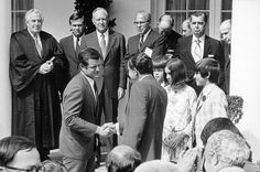 President Richard Nixon shaking hands with Senator Ted Kennedy at the White House swearing-in ceremony for Secretary Elliott l. Richardson and Counsellor Robert H. Ted Kennedy, Secretary, Presidents, Hands, History, Couple Photos, Families, June, Politics