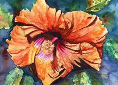 Tropical Hibiscus 9 Original Watercolor Painting by kauaiartist