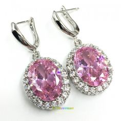 LL3732  earrings  grand  pink kunzite shiny white  topaz  silver&18k white gold plated JEWELRY