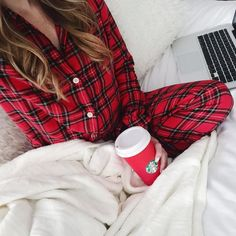 BrightonTheDay Blog // red plaid pajamas // cozy pajama outfit // holiday outfit // holiday pajamas, cozy holiday cyber monday shopping from bed, red cup starbucks