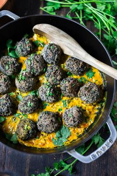 Vegan Lentil Meatballs with Indian Coconut Curry Sauce- a delicious healthy meal infused with fragrant Indian spices. Vegan and Gluten Free! Best Vegan Recipes, Vegan Dinner Recipes, Indian Food Recipes, Whole Food Recipes, Vegetarian Recipes, Cooking Recipes, Healthy Recipes, Lentil Recipes, Savoury Recipes