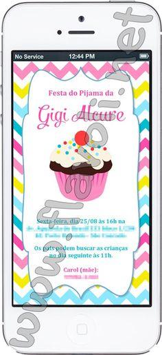 Festa Cupcake . Convite digital para envio por whatsap ou email  :: flavoli.net - Papelaria Personalizada :: Contato: (21) 98-836-0113 - Também no WhatsApp! vendas@flavoli.net
