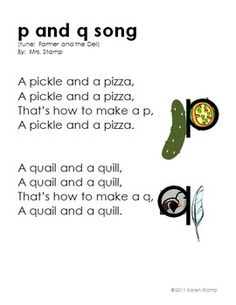 b and d Song AND p and q Song--Helping Children Learn the Difference! - Karen Stamp - TeachersPayTeachers.com