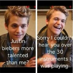 Lol!! Hunter can play pretty much every instrument known to man!