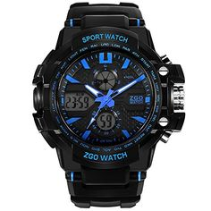 Blue High End Big Face Waterproof Analog Digital Watch for Boys ** Read more  at the image link. (Note:Amazon affiliate link)