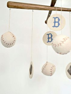 Red Sox Baseball Nursery Mobile - Vintage Style - love this but would definitely need to be for the braves!