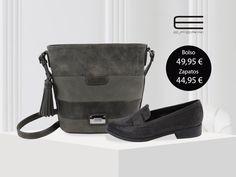 Bolso bandolera gris con detalle de flecos y zapato con aplicaciones brillantes de E.Ferri