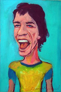 Mick Jagger 3b, acrílico sobre tela, 30 x 20 cm. 2015. . Painting for sale by Diego Manuel