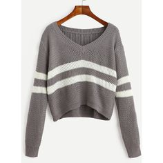 Striped V Neck Crop Sweater ($20) ❤ liked on Polyvore featuring tops, sweaters, gray cropped sweater, gray v neck sweater, striped crop top, grey crop top and striped sweater
