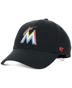 '47 Brand Miami Marlins Mlb Mvp Curved Cap - Black Adjustable