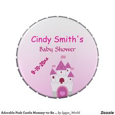 Adorable Pink Castle Mommy-to-Be Baby Shower Jelly Belly Candy Tin