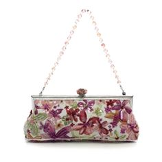 Larisa Barrera Multi-Color Beaded Floral Evening Clutch Handbag - $299.99