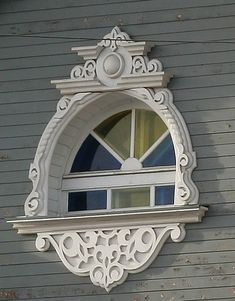 Beautiful details and window coloring on Russian window.