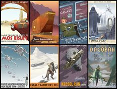 """cultfilms: """"vintage star wars travel poster series by steve thomas +: link """" ~Ah OMG old thyme luggage travel stickers but Way Better~ Star Wars Film, Star Wars Poster, Star Wars Art, Star Trek, Starwars, Steve Thomas, Pub Vintage, Vintage Style, Vintage Inspired"""