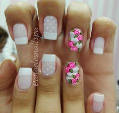 French Nail Art, French Tip Nails, Gorgeous Nails, Pretty Nails, How To Do Nails, Fun Nails, Rose Nails, Flower Nail Art, Cute Nail Art
