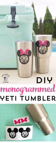 Best DIY Gifts for Girls - DIY Disney Monogrammed Yeti Tumbler - Cute Crafts and DIY Projects that Make Cool DYI Gift Ideas for Young and Older Girls, Teens and Teenagers - Awesome Room and Home Decor for Bedroom, Fashion, Jewelry and Hair Accessories - Cheap Craft Projects To Make For a Girl -DIY Christmas Presents for Tweens #diygifts #girlsgifts Disney Diy, Disney Crafts, Disney 2017, Disney Ideas, Disney Cruise, Disney Stuff, Cricut Ideas, Cricut Tutorials, Diy Craft Projects